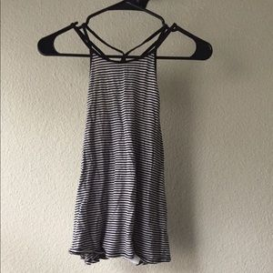 Hollister Black and White Striped Tank Top Size S